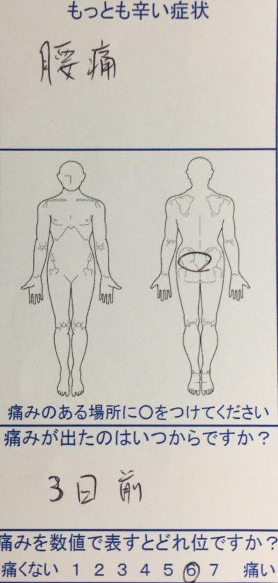 3日前からの腰痛【痛みが強く前傾姿勢で来院】整体治療の一症例