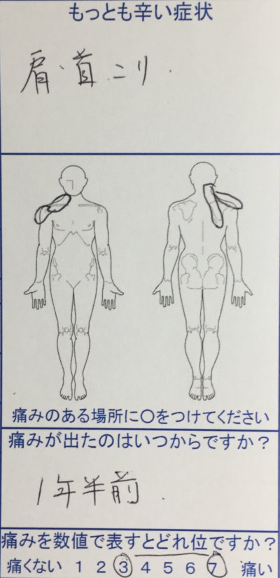右肩首の痛み【腕にしびれあり】20代女性の整体治療の一症例